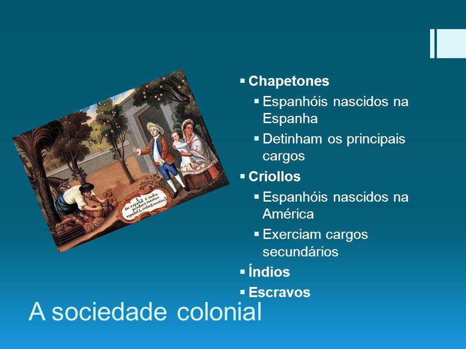 A sociedade colonial Chapetones Espanhóis nascidos na Espanha