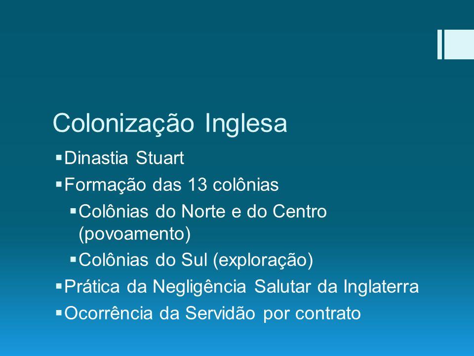Colonização Inglesa Dinastia Stuart Formação das 13 colônias