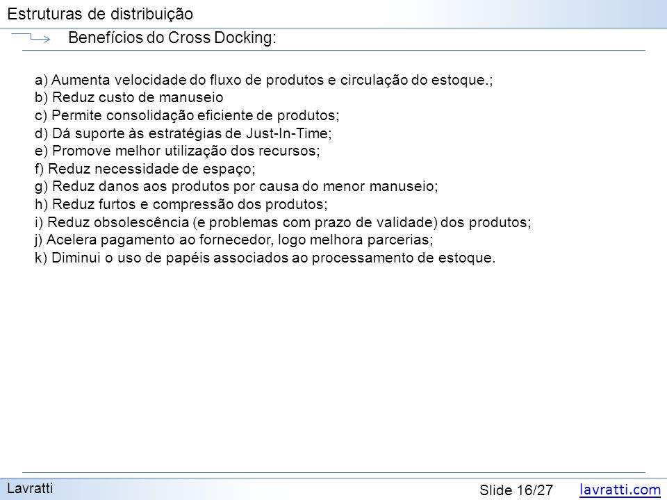 Benefícios do Cross Docking: