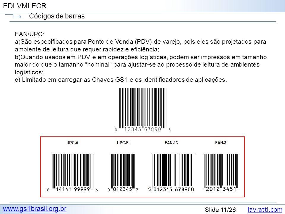 Códigos de barras www.gs1brasil.org.br EAN/UPC: