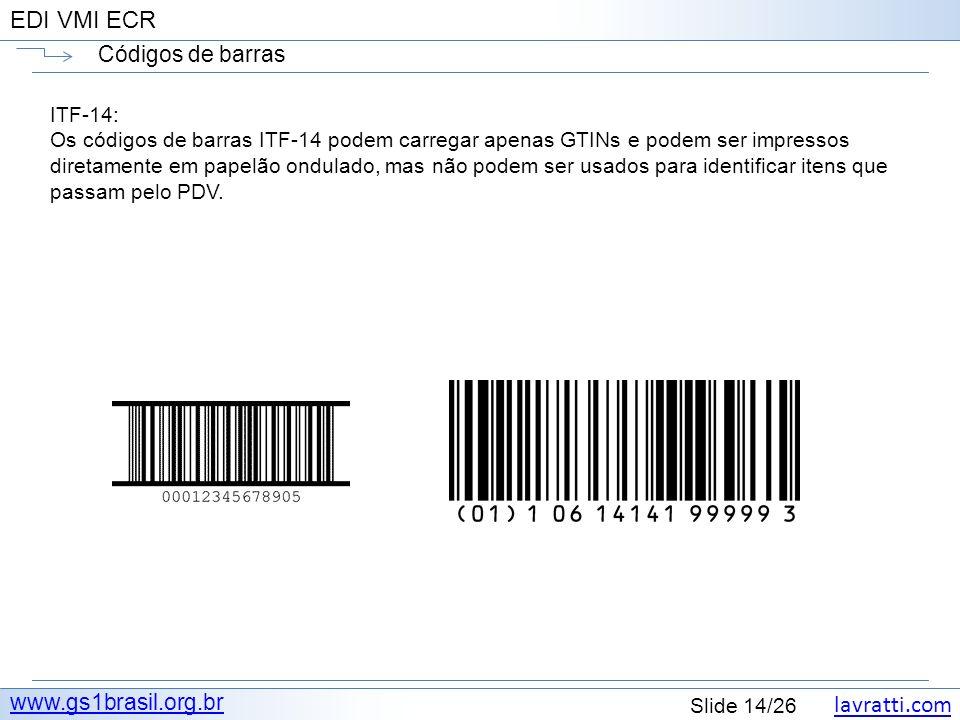 Códigos de barras www.gs1brasil.org.br ITF-14:
