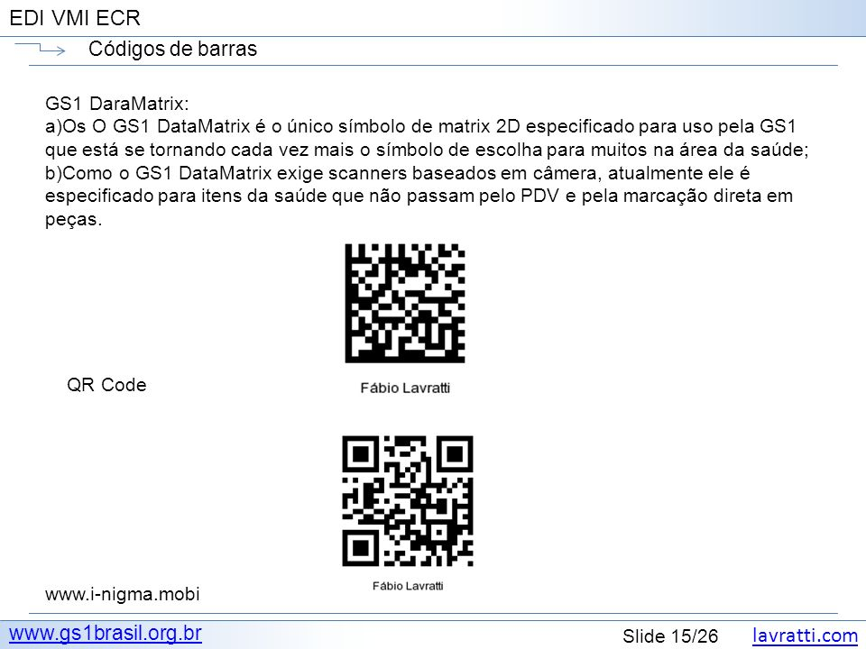 Códigos de barras www.gs1brasil.org.br GS1 DaraMatrix: