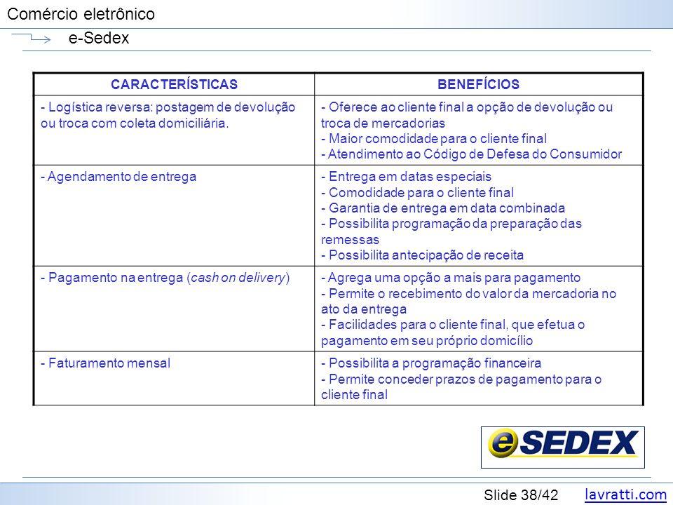 e-Sedex CARACTERÍSTICAS BENEFÍCIOS