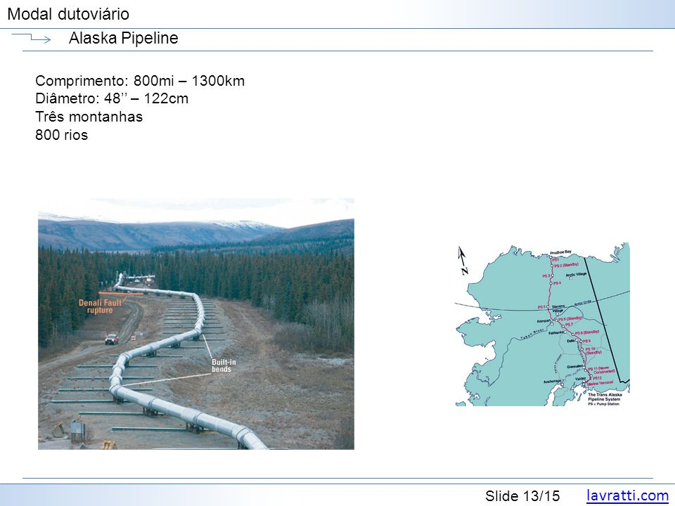 Alaska Pipeline Comprimento: 800mi – 1300km Diâmetro: 48'' – 122cm