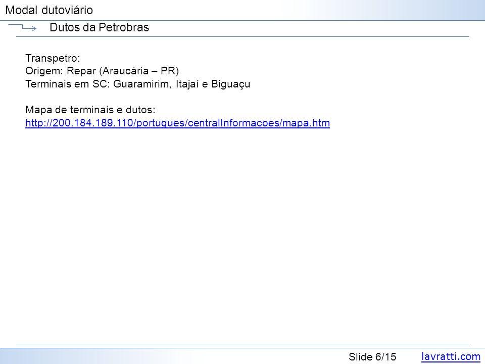 Dutos da Petrobras Transpetro: Origem: Repar (Araucária – PR)