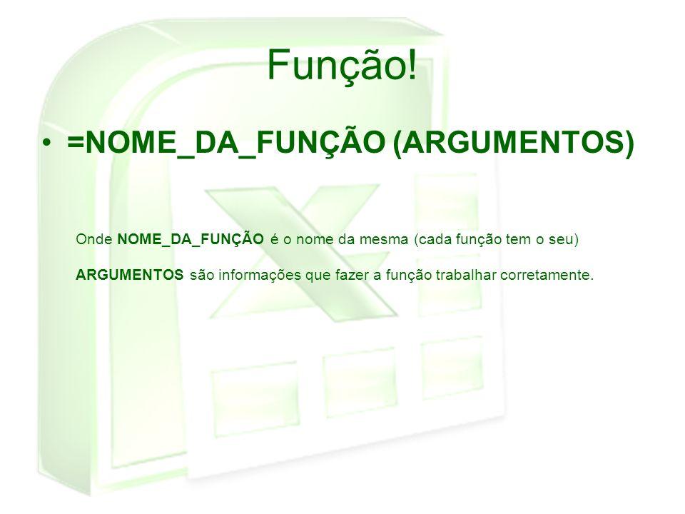 Função! =NOME_DA_FUNÇÃO (ARGUMENTOS)