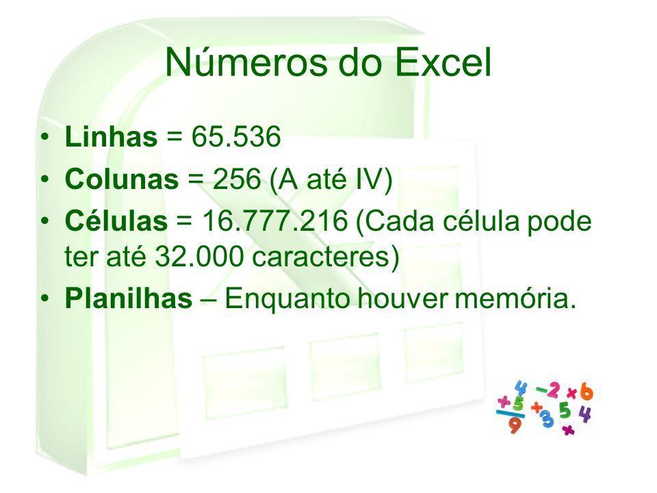 Números do Excel Linhas = 65.536 Colunas = 256 (A até IV)