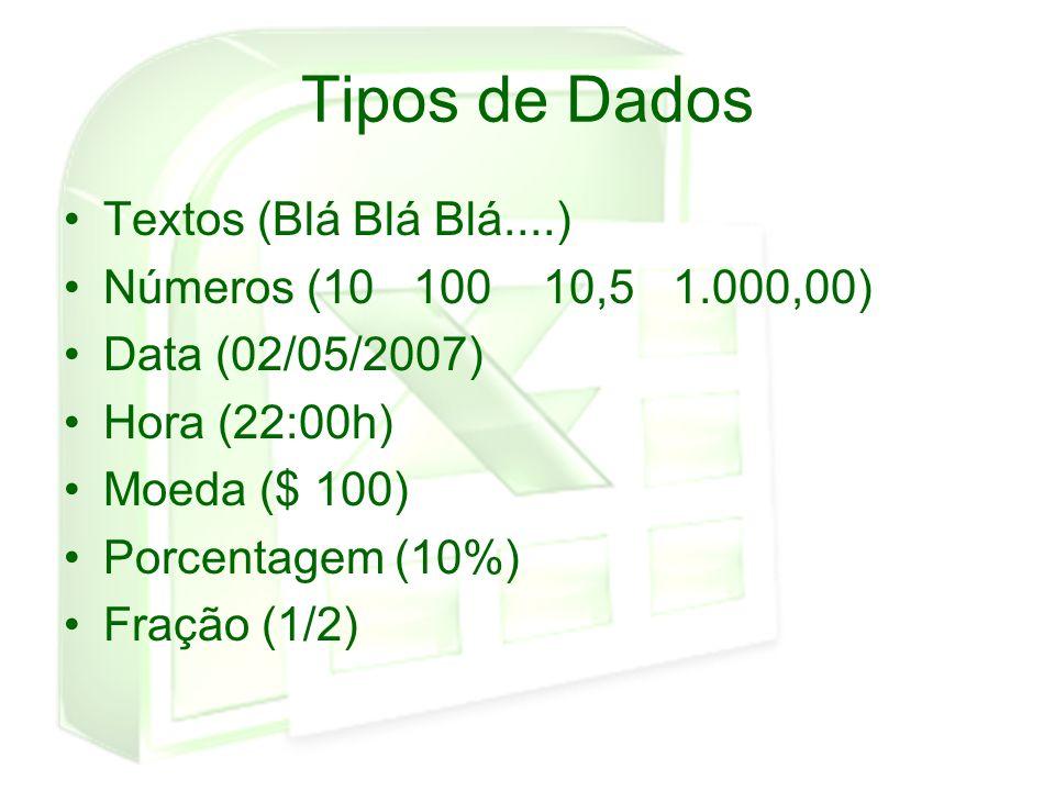 Tipos de Dados Textos (Blá Blá Blá....) Números (10 100 10,5 1.000,00)