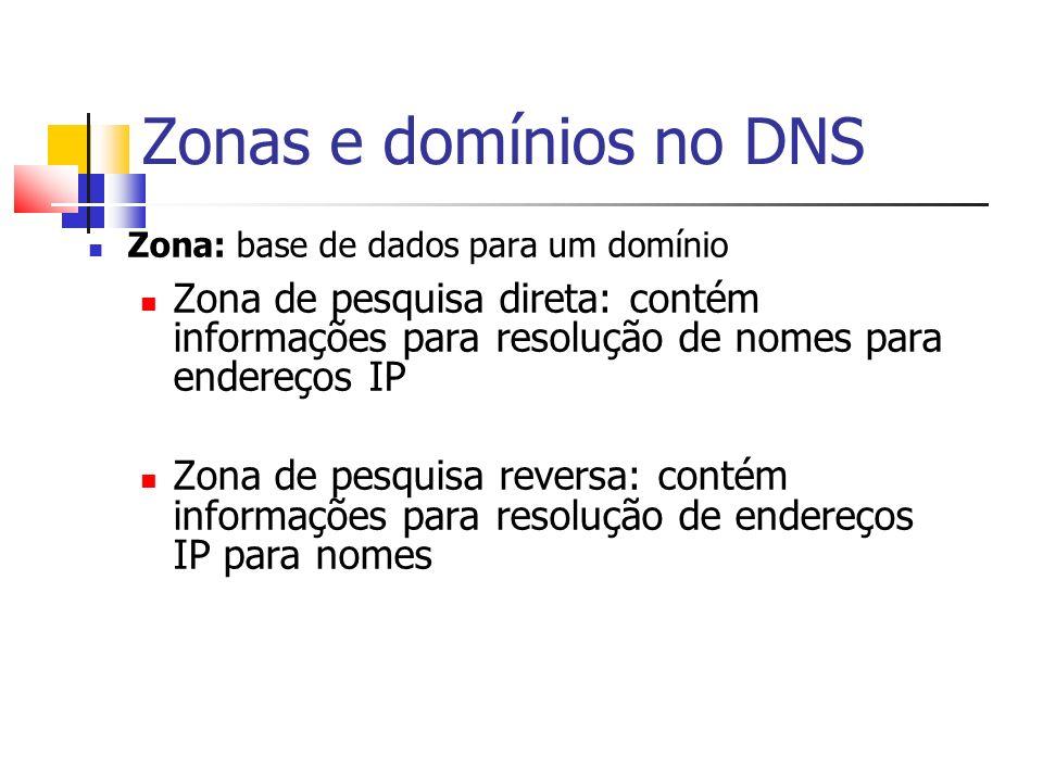 Zonas e domínios no DNS Zona: base de dados para um domínio. Zona de pesquisa direta: contém informações para resolução de nomes para endereços IP.