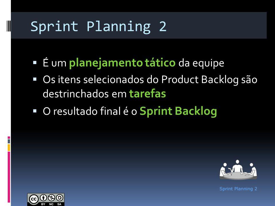Sprint Planning 2 É um planejamento tático da equipe