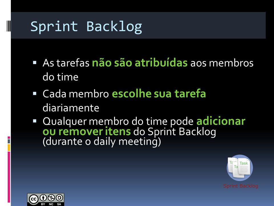 Sprint Backlog As tarefas não são atribuídas aos membros do time