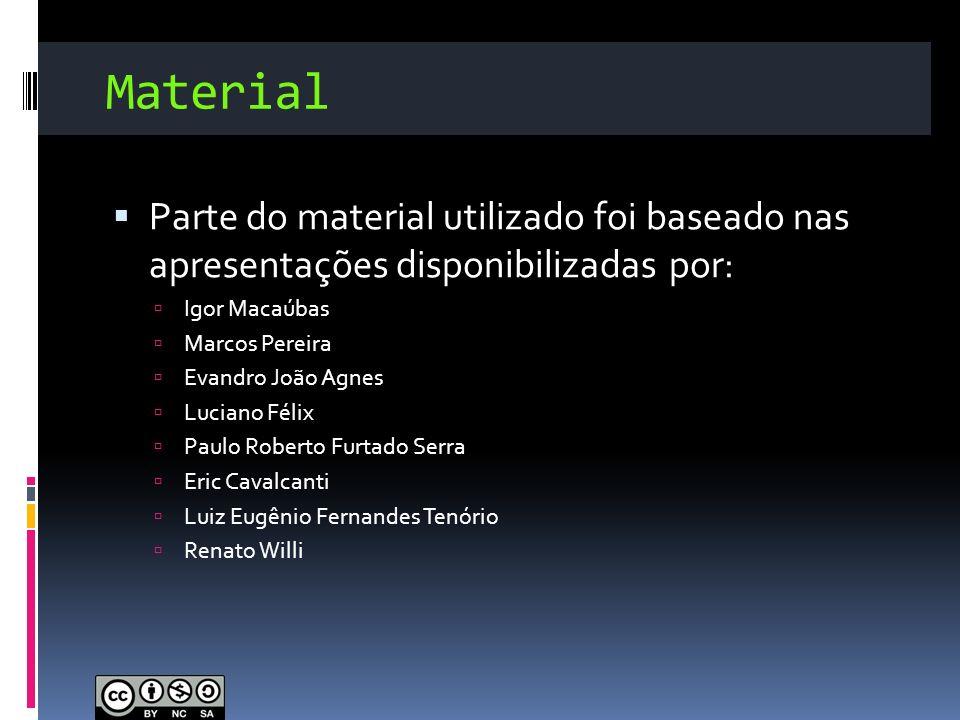 Material Parte do material utilizado foi baseado nas apresentações disponibilizadas por: Igor Macaúbas.