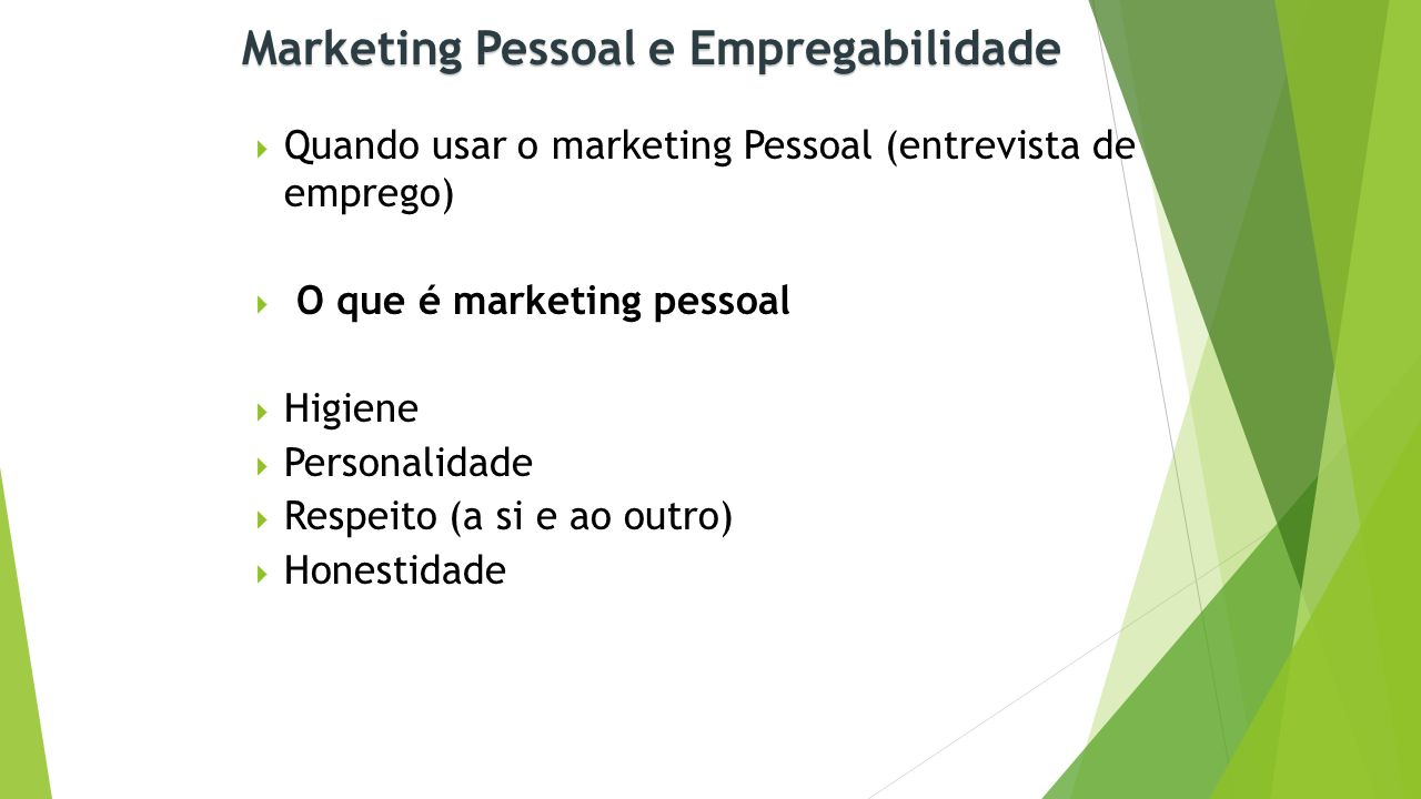 Marketing Pessoal e Empregabilidade