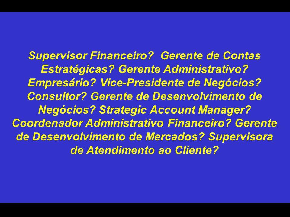 Supervisor Financeiro. Gerente de Contas Estratégicas