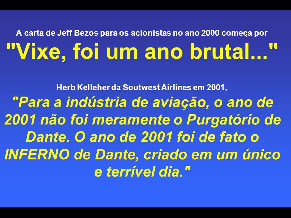 A carta de Jeff Bezos para os acionistas no ano 2000 começa por Vixe, foi um ano brutal... Herb Kelleher da Soutwest Airlines em 2001, Para a indústria de aviação, o ano de 2001 não foi meramente o Purgatório de Dante.