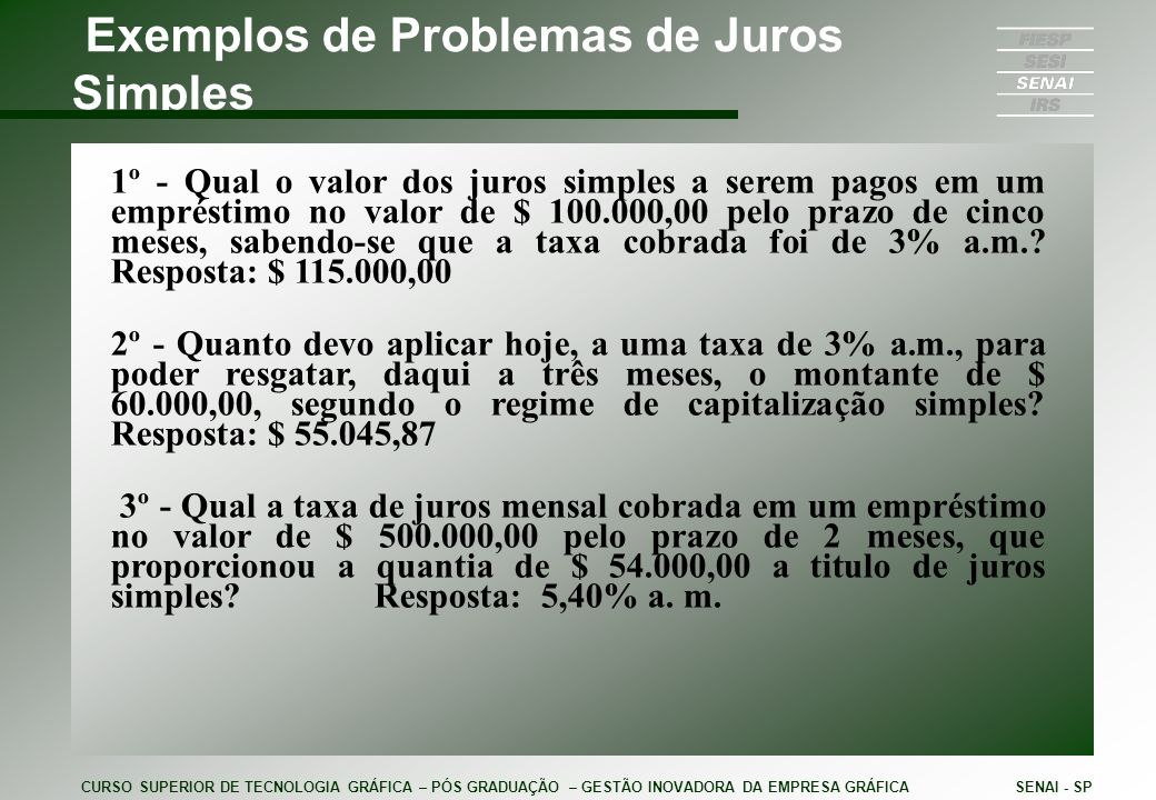 Exemplos de Problemas de Juros Simples