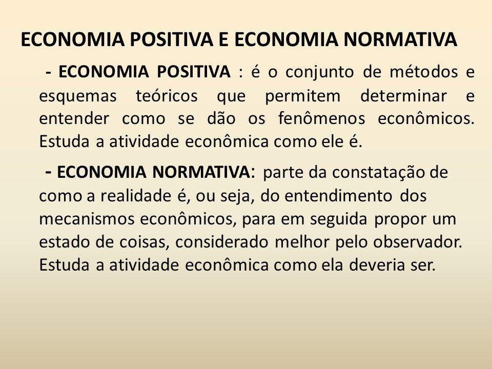ECONOMIA POSITIVA E ECONOMIA NORMATIVA - ECONOMIA POSITIVA : é o conjunto de métodos e esquemas teóricos que permitem determinar e entender como se dão os fenômenos econômicos.