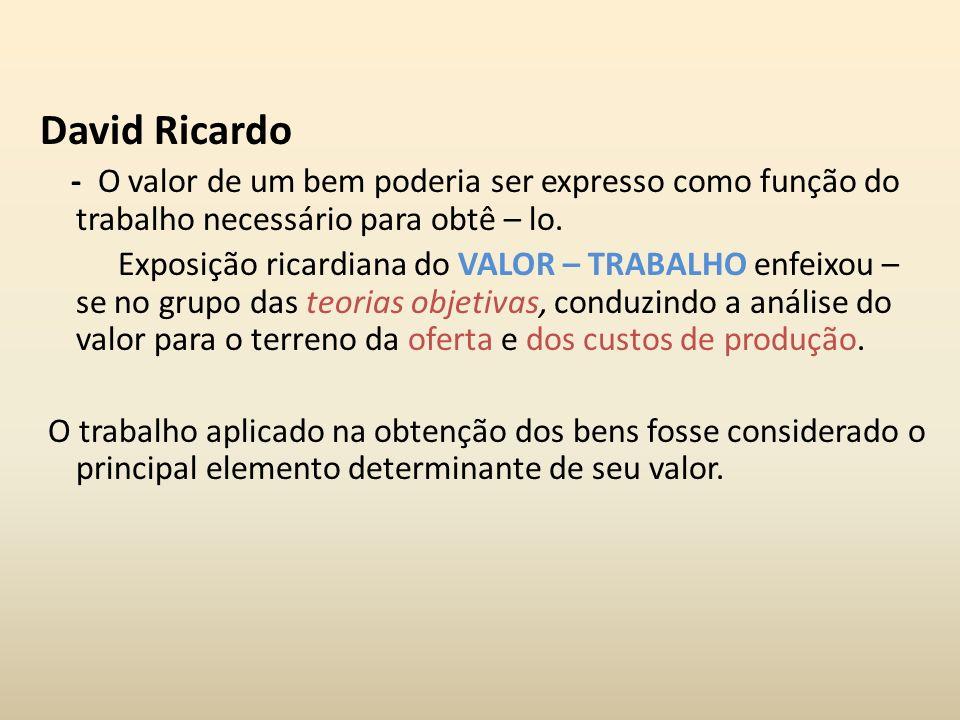 David Ricardo - O valor de um bem poderia ser expresso como função do trabalho necessário para obtê – lo.
