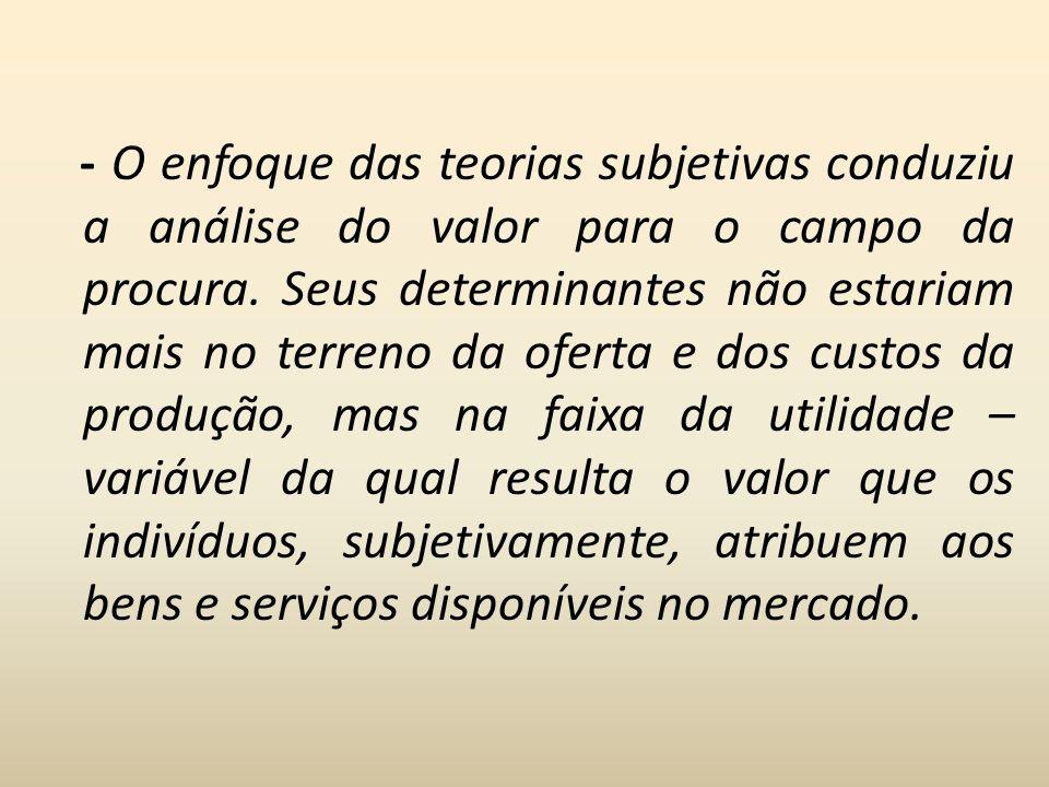 - O enfoque das teorias subjetivas conduziu a análise do valor para o campo da procura.