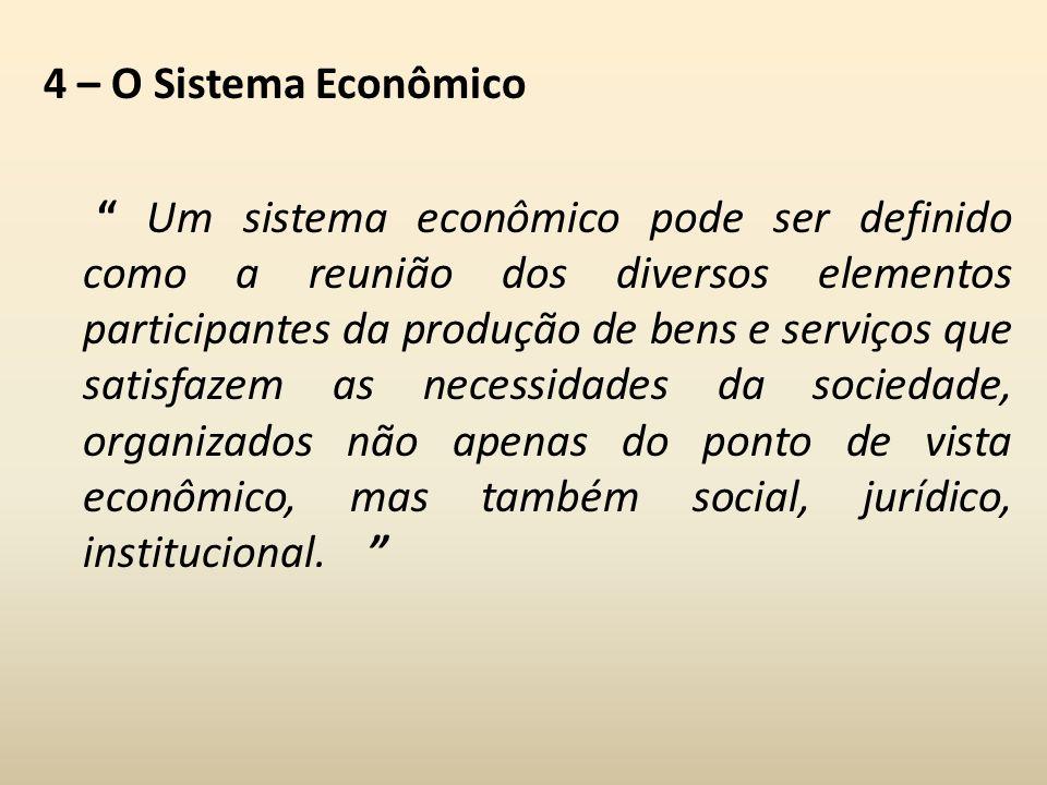 4 – O Sistema Econômico Um sistema econômico pode ser definido como a reunião dos diversos elementos participantes da produção de bens e serviços que satisfazem as necessidades da sociedade, organizados não apenas do ponto de vista econômico, mas também social, jurídico, institucional.