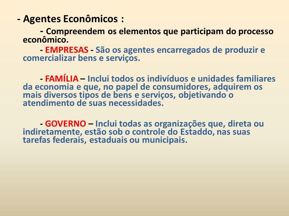 - Compreendem os elementos que participam do processo econômico.