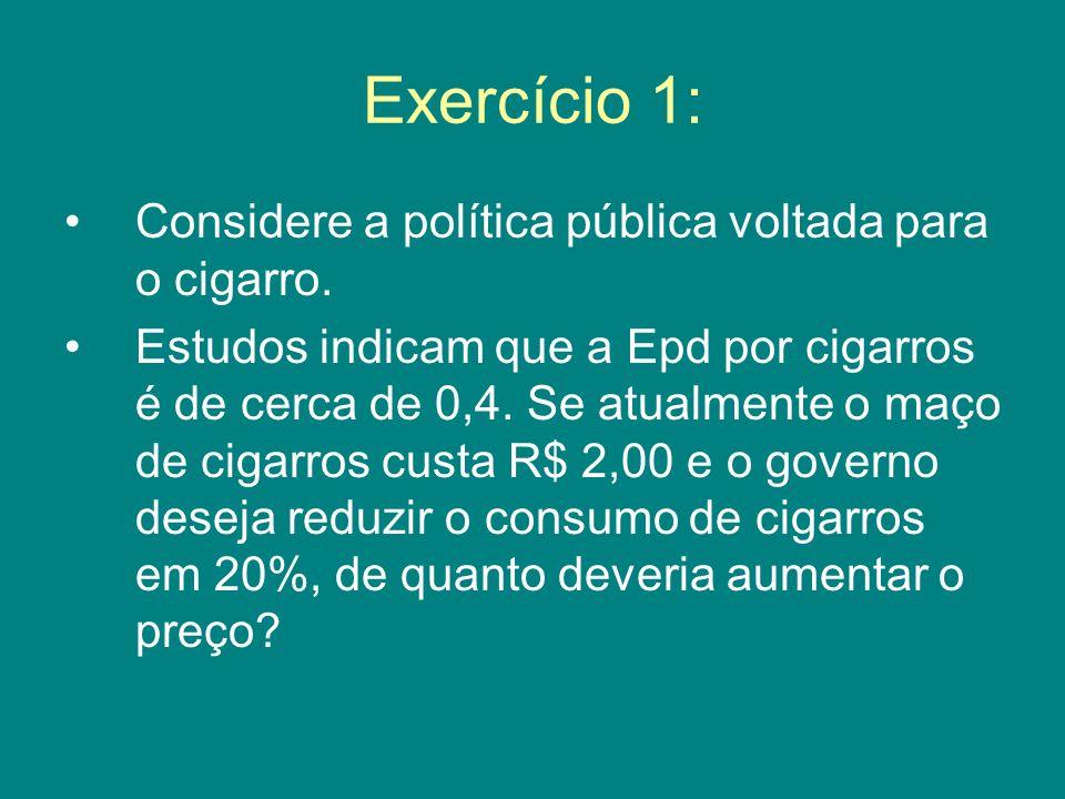 Exercício 1: Considere a política pública voltada para o cigarro.