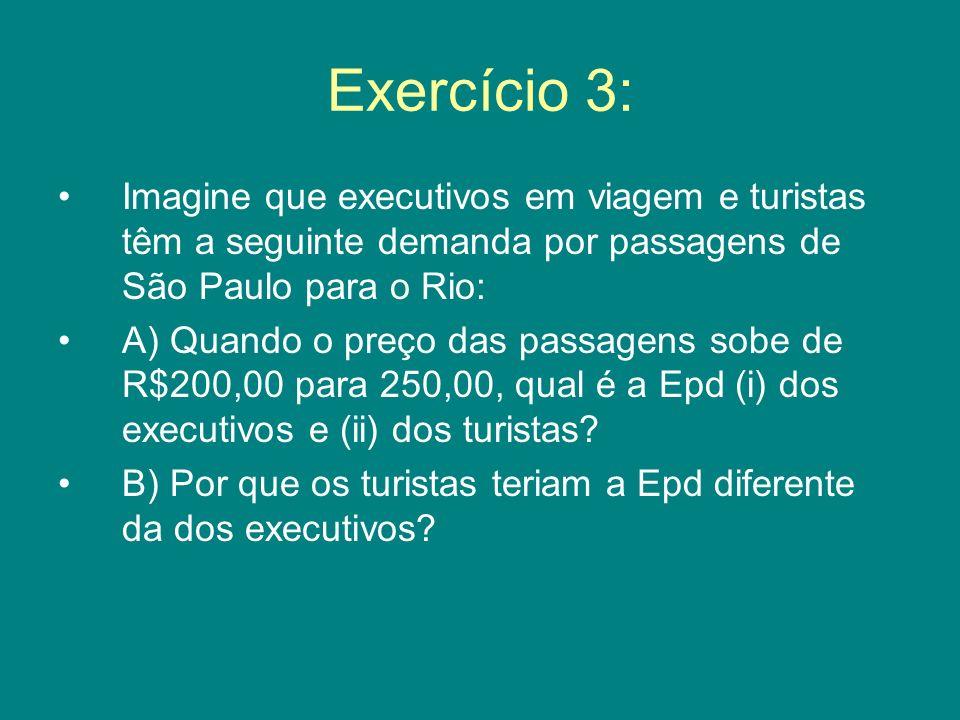 Exercício 3: Imagine que executivos em viagem e turistas têm a seguinte demanda por passagens de São Paulo para o Rio: