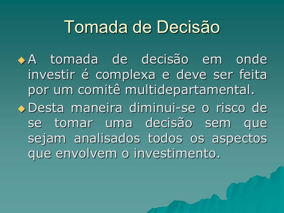 Tomada de Decisão A tomada de decisão em onde investir é complexa e deve ser feita por um comitê multidepartamental.