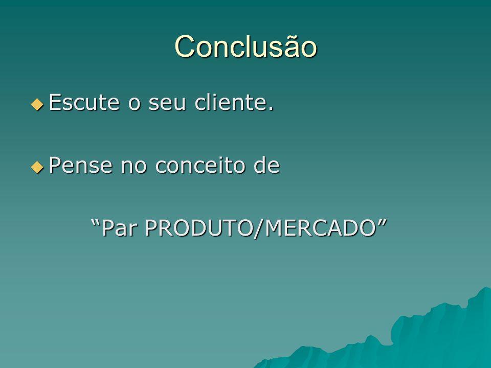 Conclusão Escute o seu cliente. Pense no conceito de