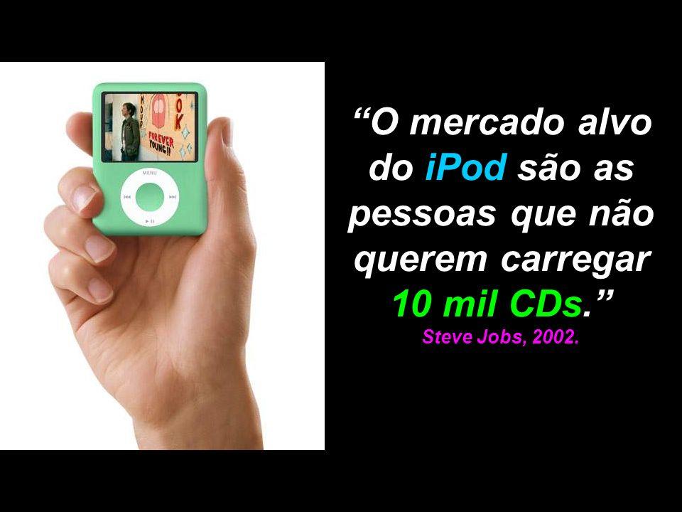 O mercado alvo do iPod são as pessoas que não querem carregar 10 mil CDs. Steve Jobs, 2002.