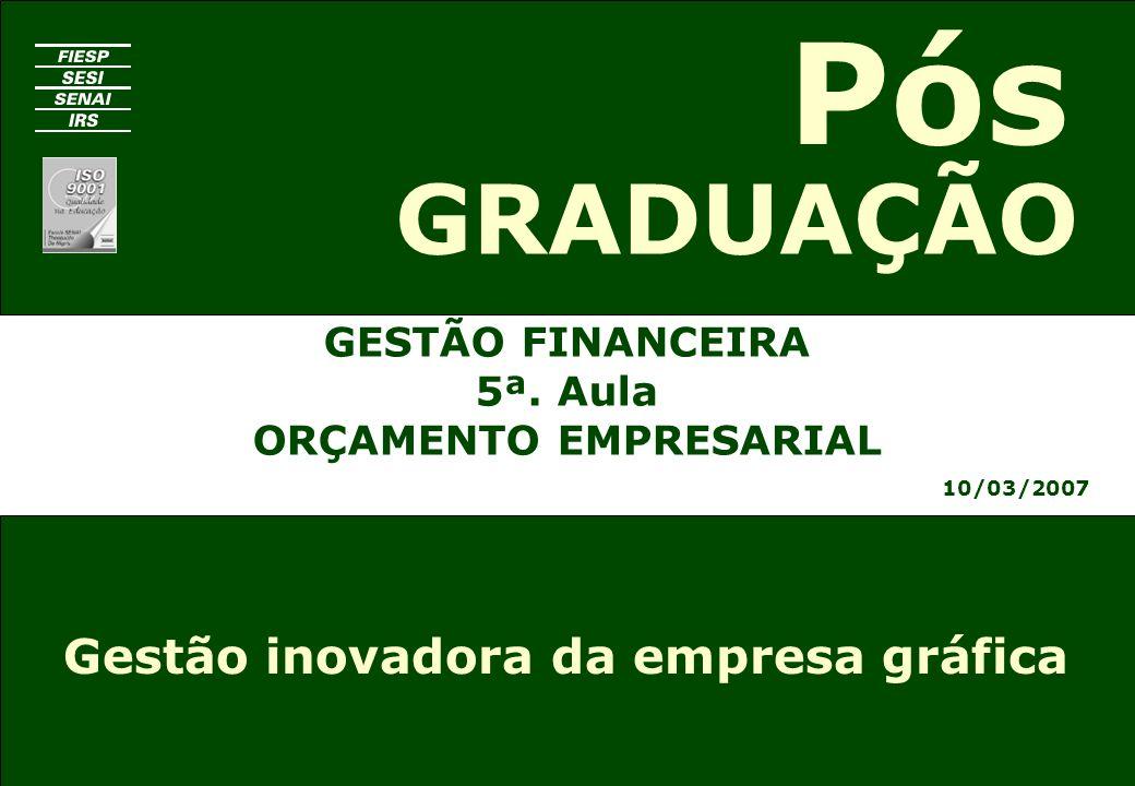 GESTÃO FINANCEIRA 5ª. Aula ORÇAMENTO EMPRESARIAL