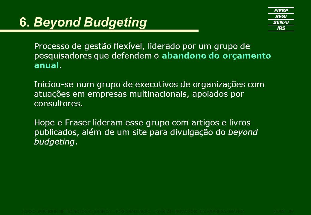 6. Beyond Budgeting Processo de gestão flexível, liderado por um grupo de pesquisadores que defendem o abandono do orçamento anual.