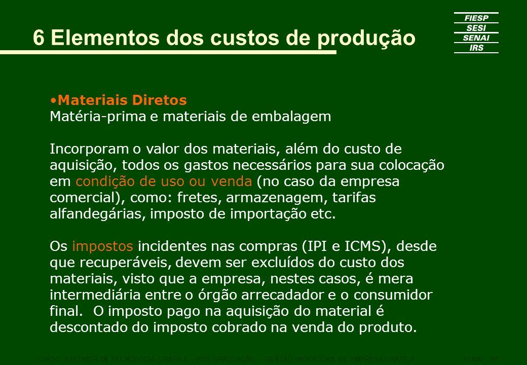 6 Elementos dos custos de produção