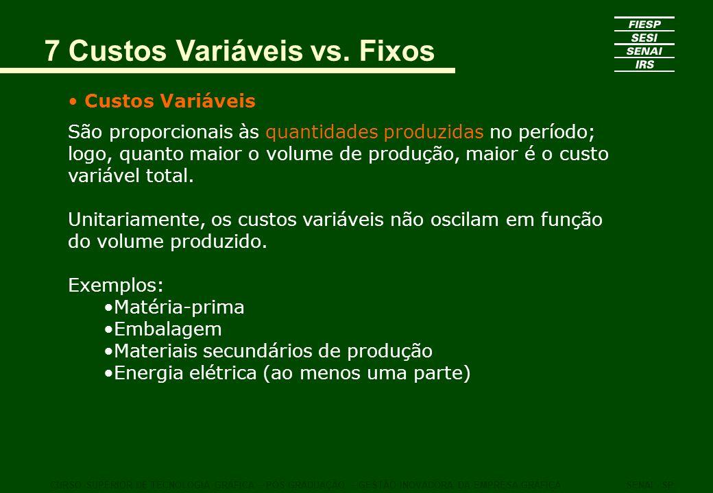 7 Custos Variáveis vs. Fixos