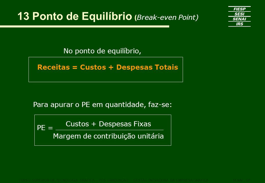 13 Ponto de Equilíbrio (Break-even Point)