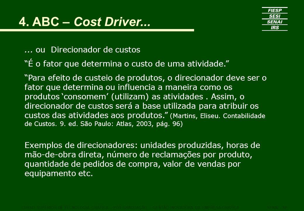 4. ABC – Cost Driver... ... ou Direcionador de custos