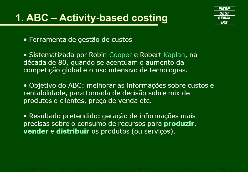 1. ABC – Activity-based costing