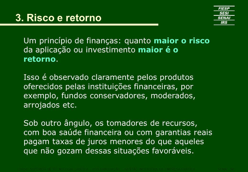 3. Risco e retorno Um princípio de finanças: quanto maior o risco da aplicação ou investimento maior é o retorno.