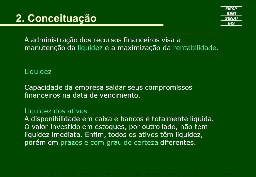 2. Conceituação A administração dos recursos financeiros visa a manutenção da liquidez e a maximização da rentabilidade.