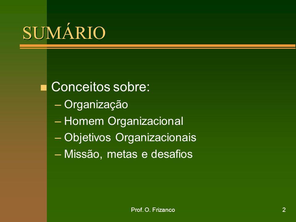 SUMÁRIO Conceitos sobre: Organização Homem Organizacional