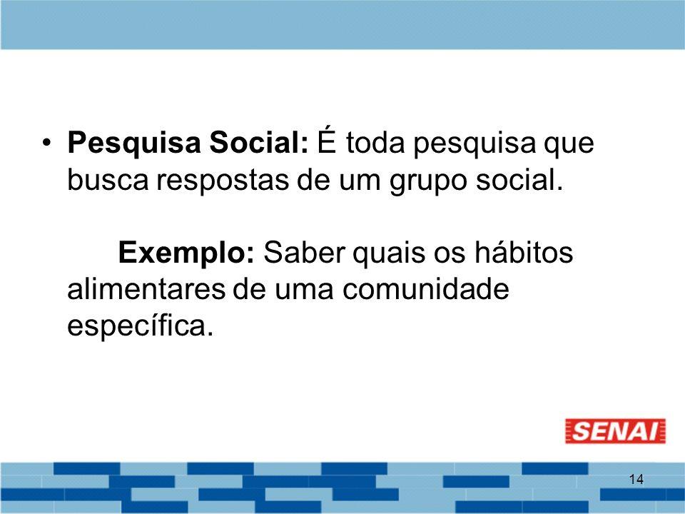 Pesquisa Social: É toda pesquisa que busca respostas de um grupo social.