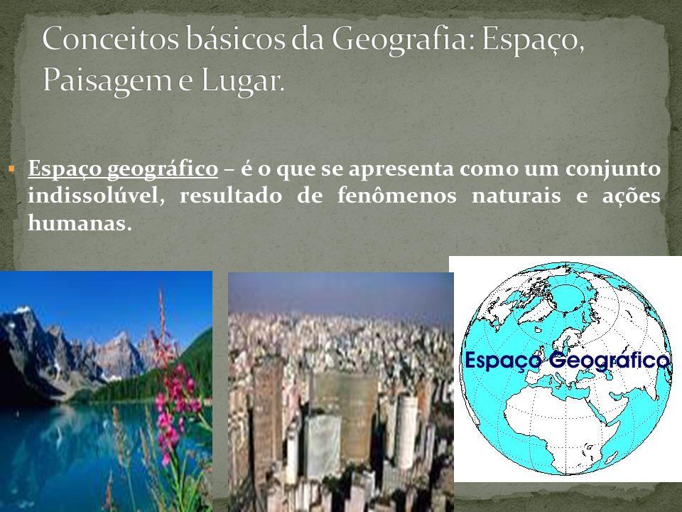 Conceitos básicos da Geografia: Espaço, Paisagem e Lugar.