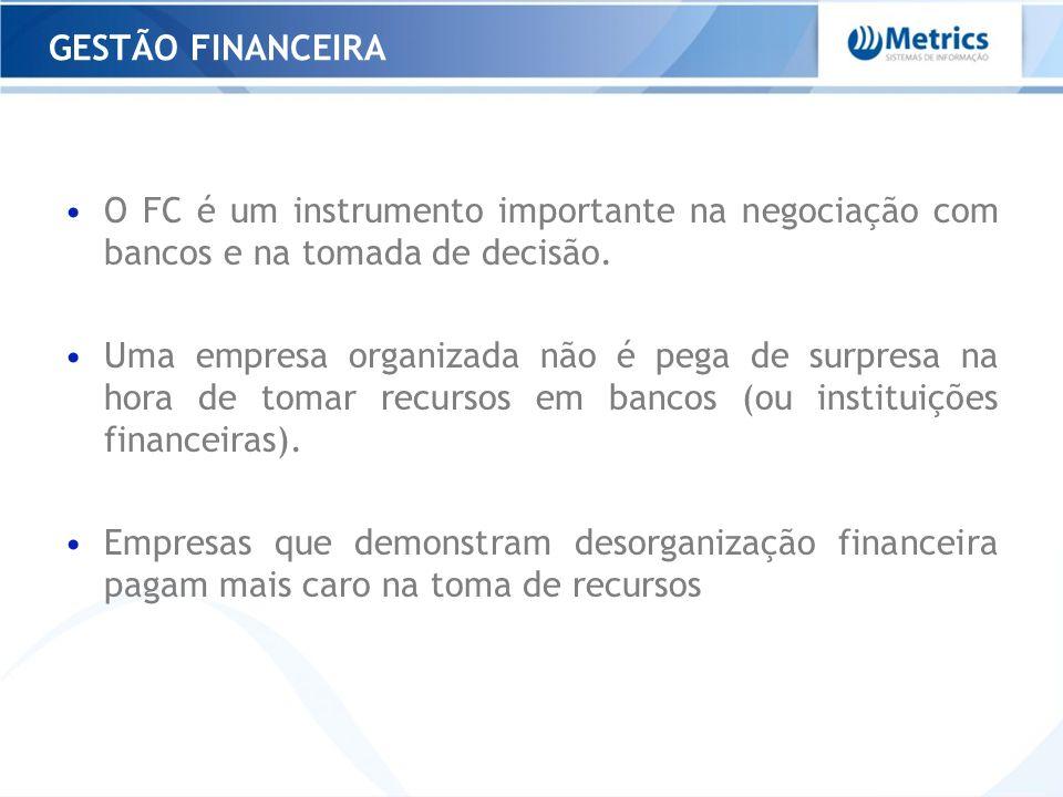 GESTÃO FINANCEIRA O FC é um instrumento importante na negociação com bancos e na tomada de decisão.