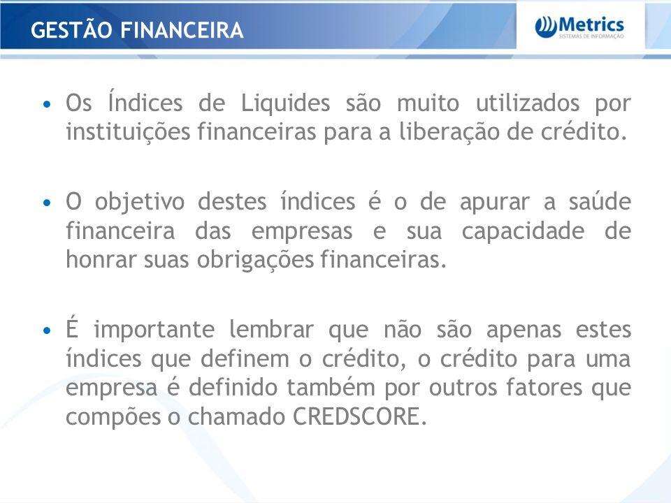GESTÃO FINANCEIRAOs Índices de Liquides são muito utilizados por instituições financeiras para a liberação de crédito.