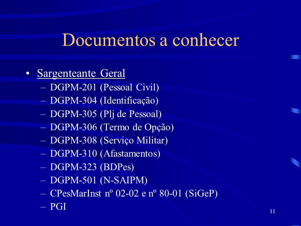 Documentos a conhecer Sargenteante Geral DGPM-201 (Pessoal Civil)