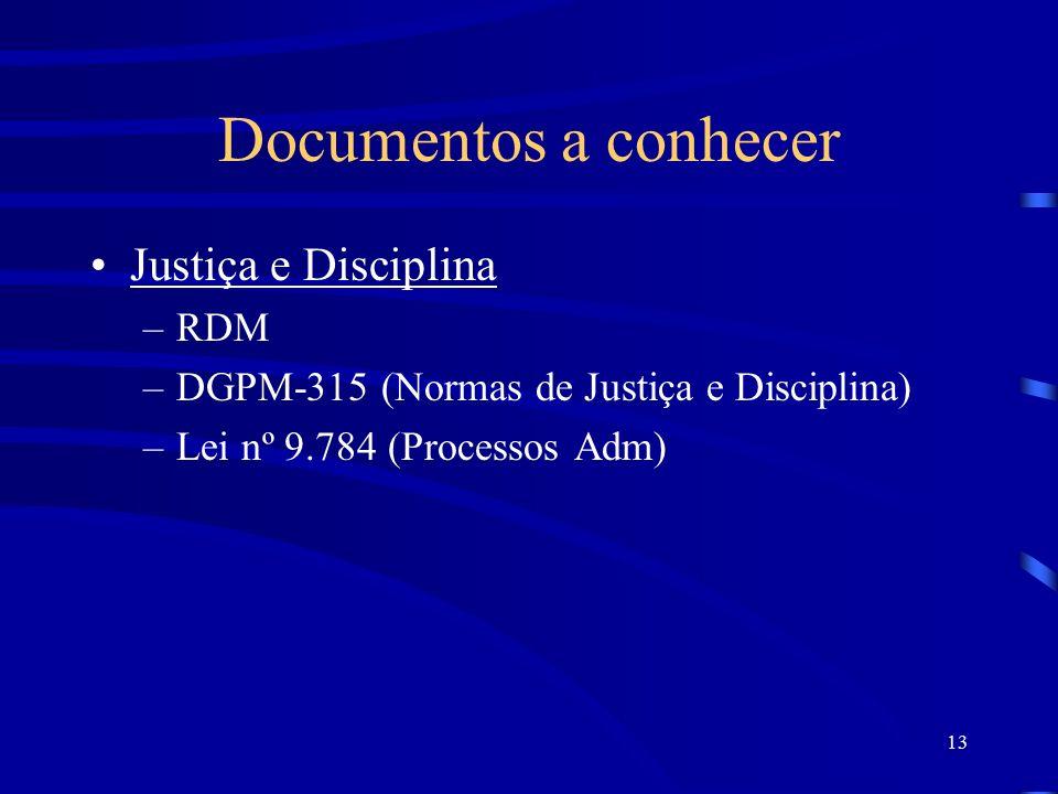 Documentos a conhecer Justiça e Disciplina RDM