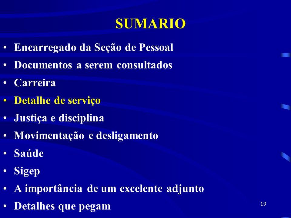 SUMARIO Encarregado da Seção de Pessoal Documentos a serem consultados