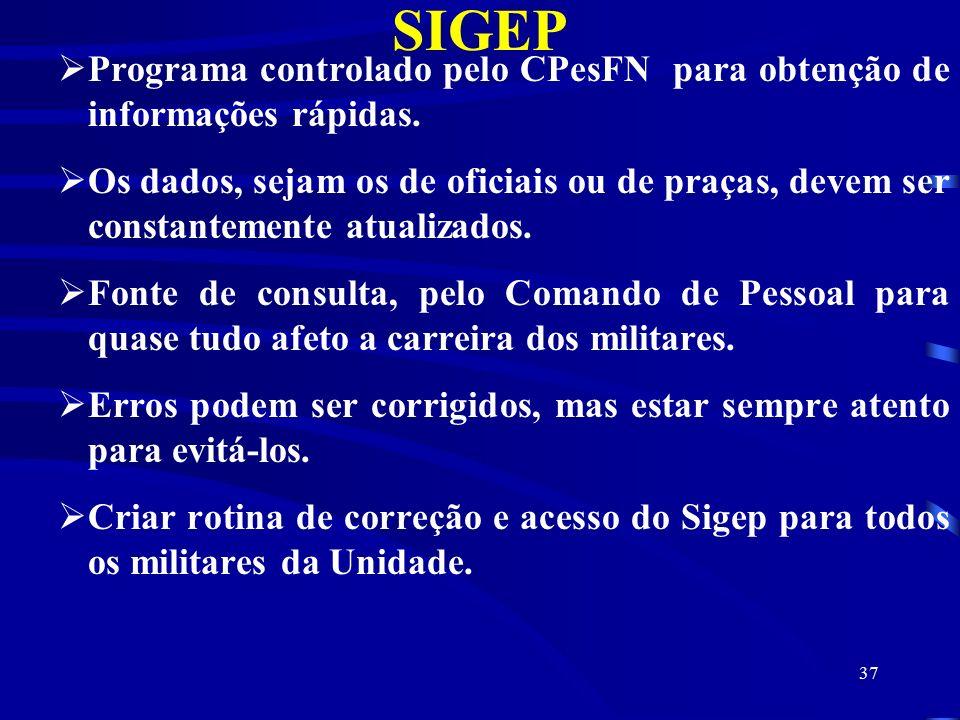SIGEP Programa controlado pelo CPesFN para obtenção de informações rápidas.