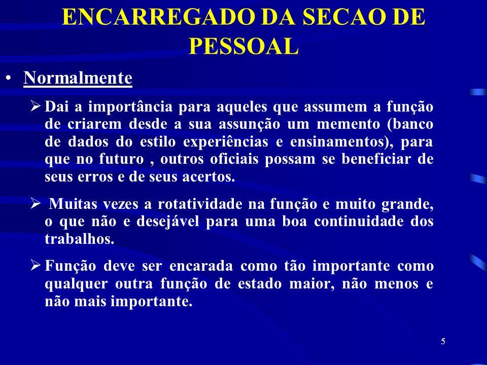 ENCARREGADO DA SECAO DE PESSOAL