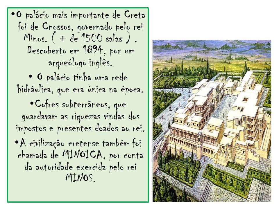 O palácio tinha uma rede hidráulica, que era única na época.